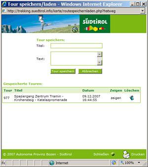 Wegenetz Südtirol - Meine Touren abspeichern