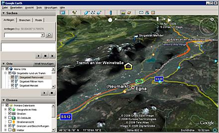 Google Earth V4.3 Schatten Sonnenstand zeigen