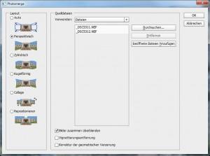Photomerge fügt die beiden Bilder zu einem Panoramabild zusammen