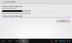 Google Konto in Android Tablet einrichten